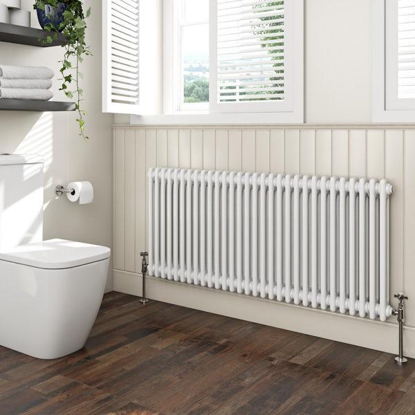 The Bath Co. Camberley white 2 column radiator 600 x 1374