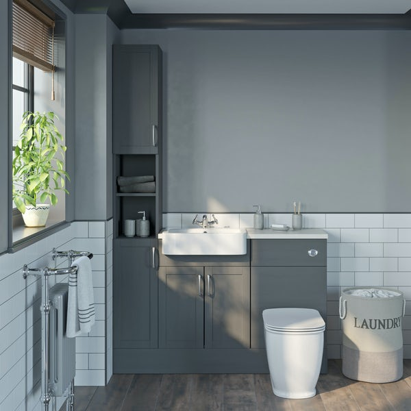 The Bath Co. Newbury dusk grey tall fitted furniture combination with white worktop