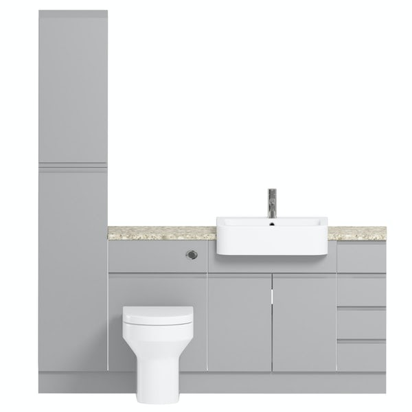 Orchard Wharfe slate matt grey straight small drawer fitted furniture pack with beige worktop