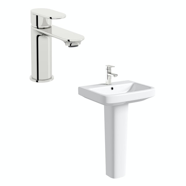 Mode Carter 1 tap hole full pedestal basin 550mm with tap