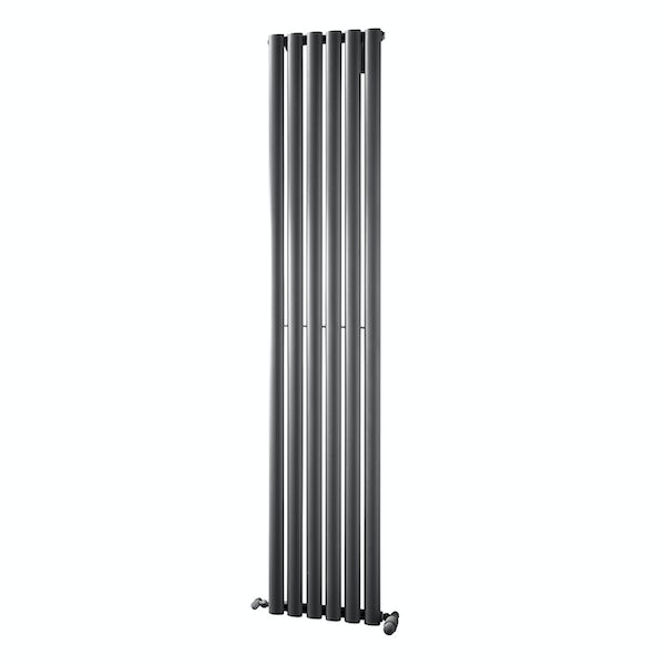 The Heating Co. Alcudia anthracite flat panel heated towel rail