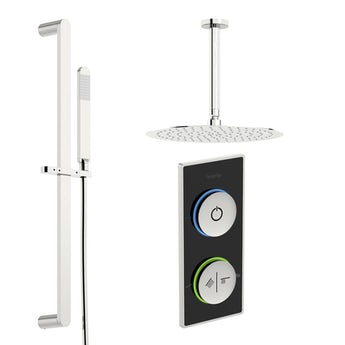 SmarTap black smart shower system with round slider rail and ceiling shower set