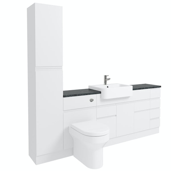 Orchard Wharfe white straight medium drawer fitted furniture pack with black worktop