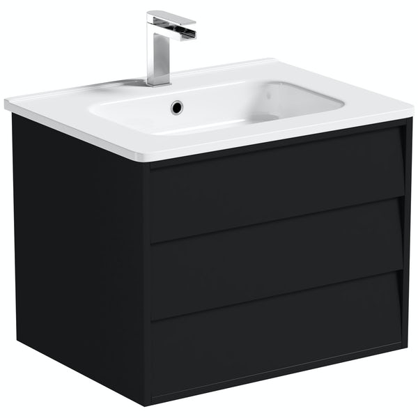 Mode Cooper anthracite black wall hung vanity unit and basin 600mm