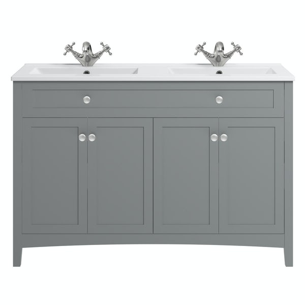 The Bath Co. Camberley satin grey floorstanding double vanity unit and ceramic basin 1210mm
