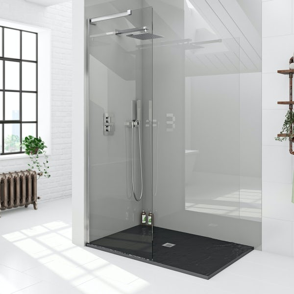 Mode 8mm walk in shower glass screen with black slate effect tray 1200 x 800