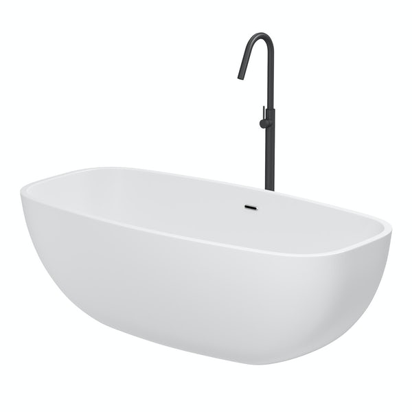 Mode Ellis freestanding bath & tap pack with Spencer black bath filler