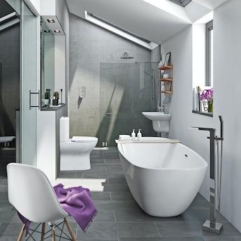 Mode Heath bathroom suite with freestanding bath