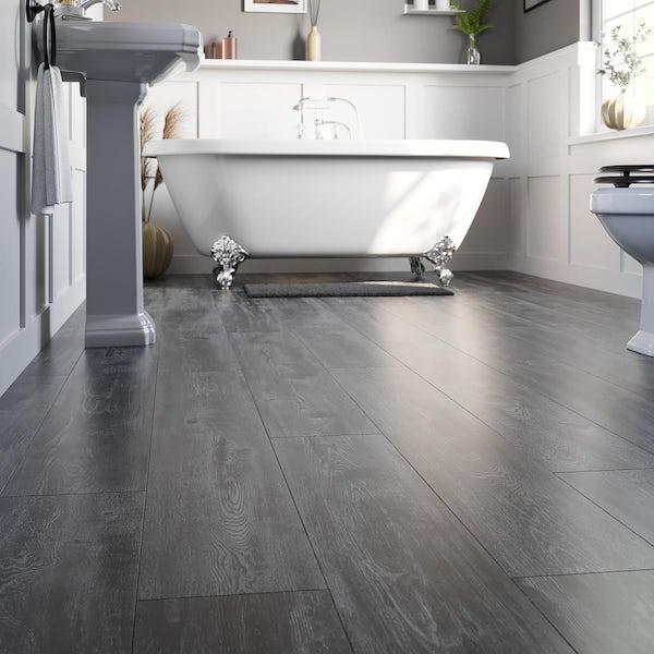Huron midnight ash plank water resistant laminate flooring 8mm