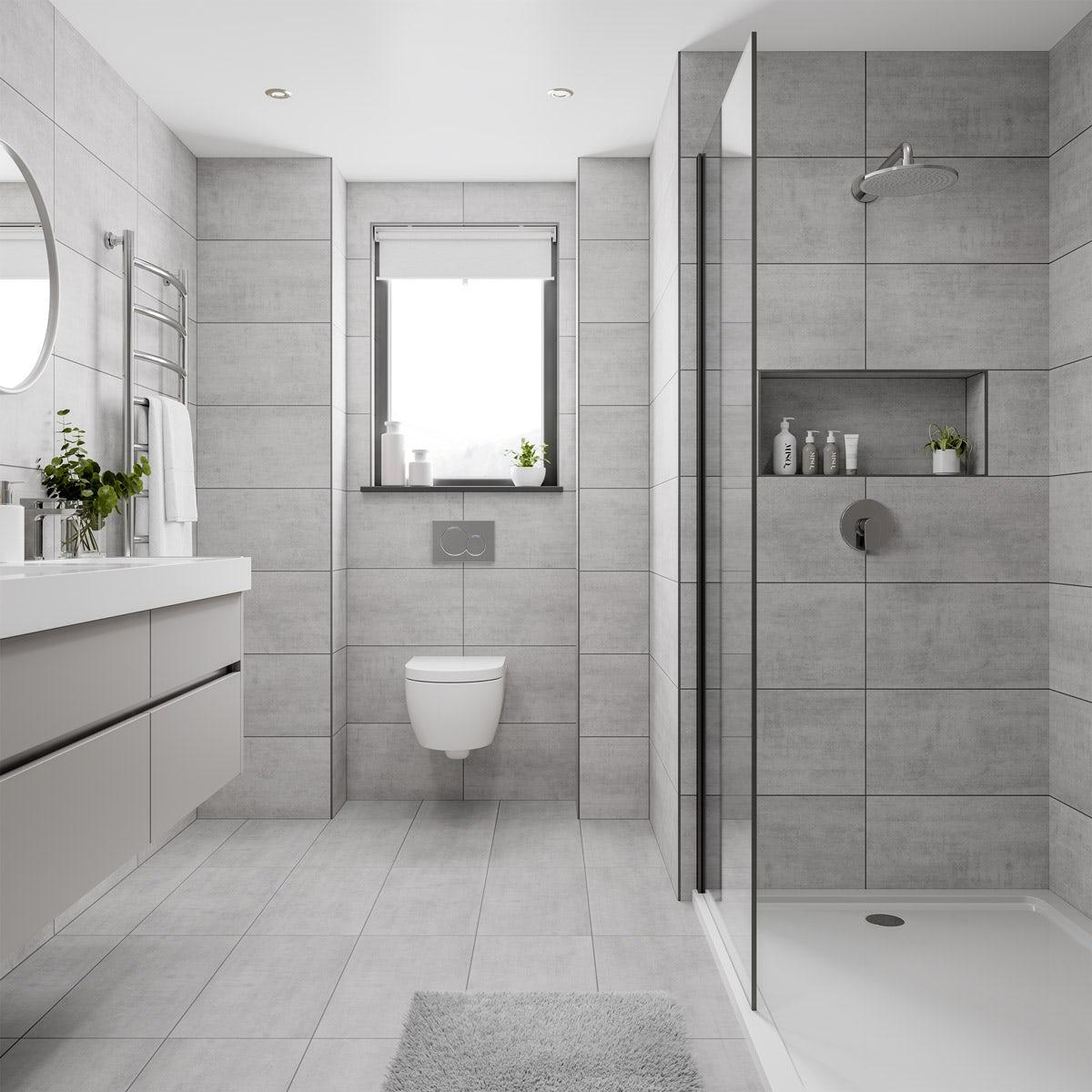 Floor Tiles Bathroom Grey - Image Of Bathroom And Closet