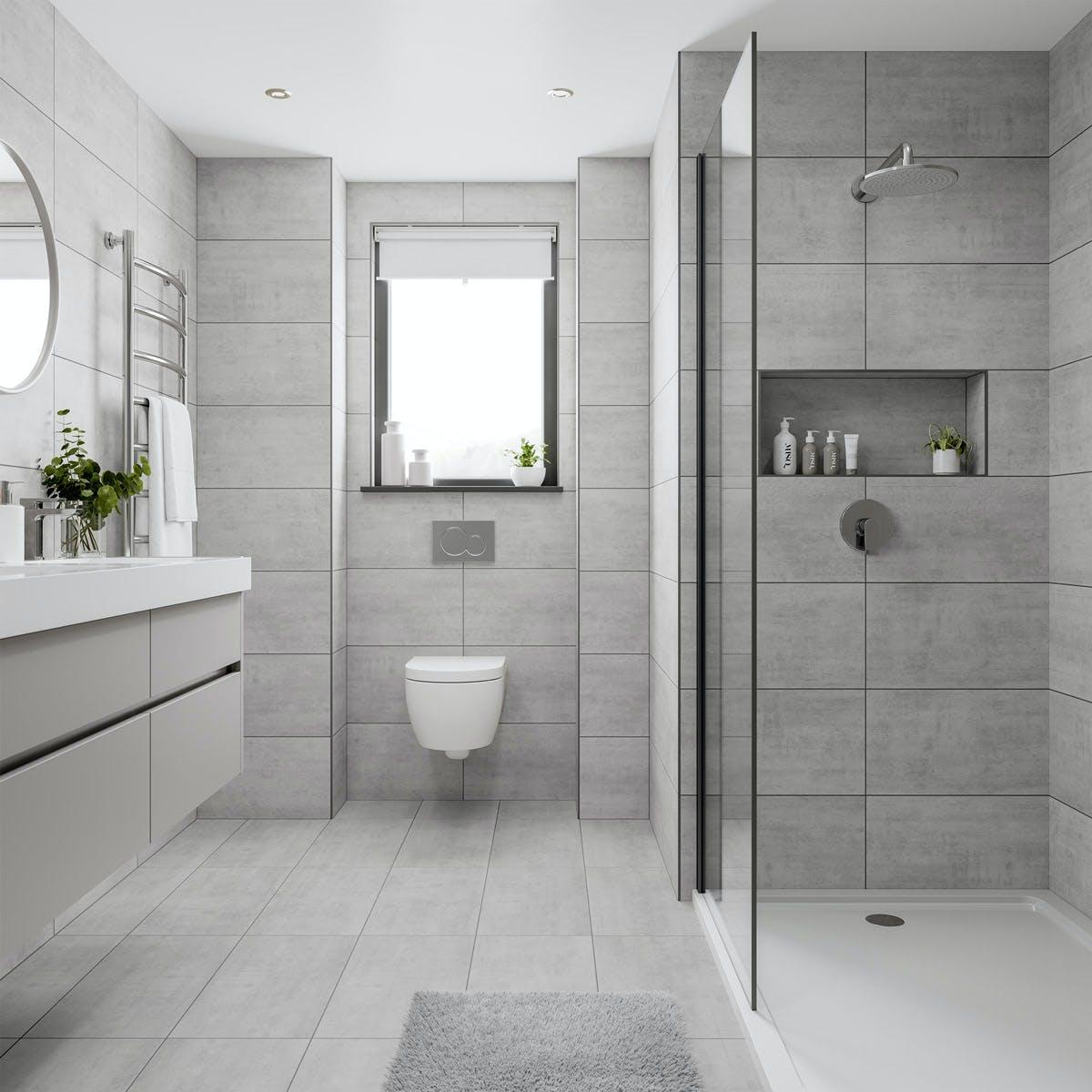 Shala Light Grey Stone Effect Flat Matt Wall And Floor Tile 300mm X 600mm Victoriaplum Com