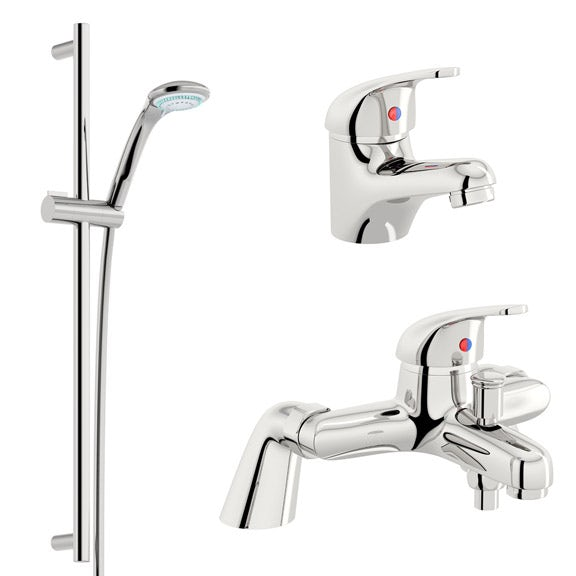 THERMOSTATIC BATH SHOWER MIXER CHROME TAPS AND KIT BASIN MIXER WITH WASTE PACK