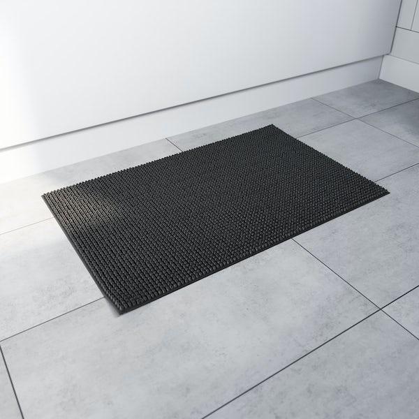 Accents black chenille bath mat