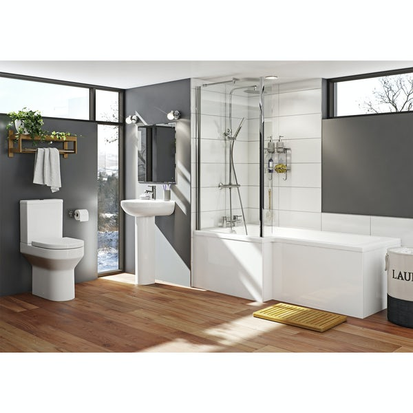 Orchard Wharfe bathroom suite with left handed L shaped shower bath 1700 x 850