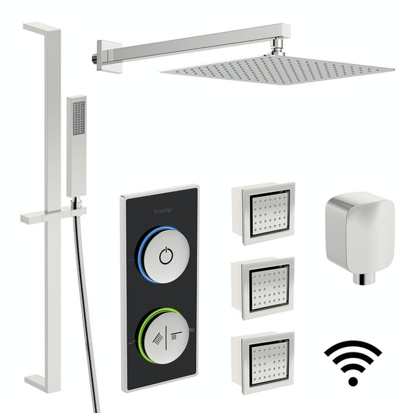SmarTap black smart shower system with complete square wall shower set