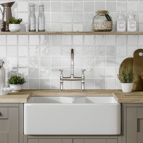 Marseille white mix gloss wall tile 100mm x 100mm