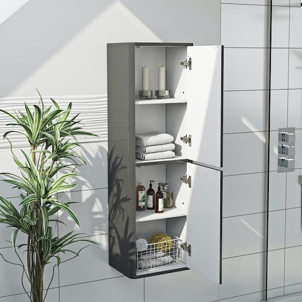 Mode Carter slate gloss grey tall wall hung cabinet 1200 x 375mm