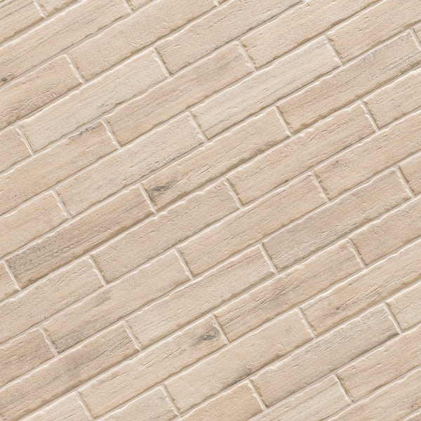 Arden light wood effect matt wall and floor tile 105mm x 600mm