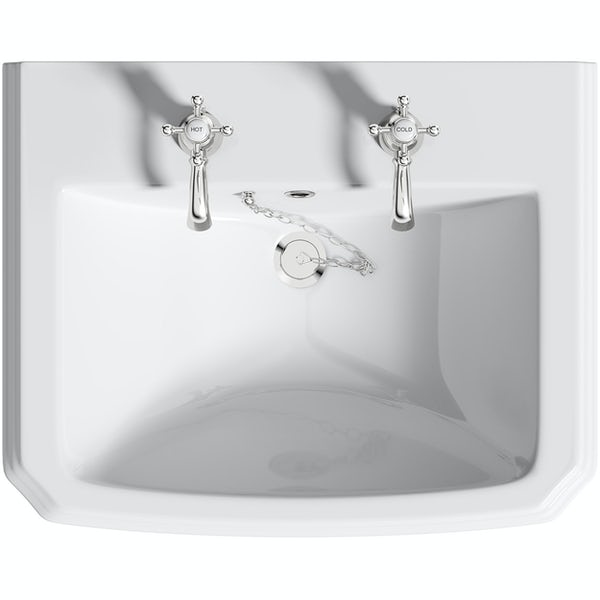 Orchard Dulwich 2 tap hole full pedestal basin 615mm