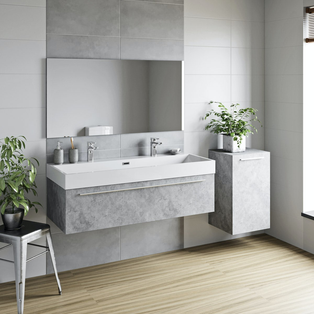 new concept f8a1e 12a4a Mode Morris dark concrete grey furniture package with wall hung vanity unit  1200mm