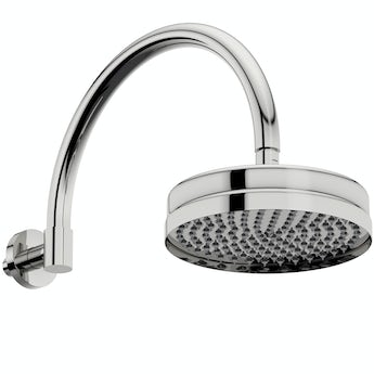 The Bath Co. Camberley rain can shower head with traditional wall arm