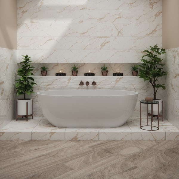 British Ceramic Tile Polar natural honey wave gloss wall tile 248mm x 498mm