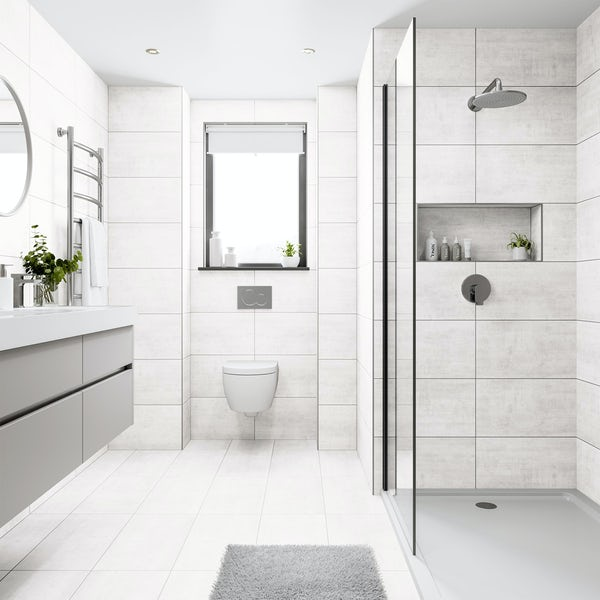 Shala white stone effect flat matt wall and floor tile 300mm x 600mm