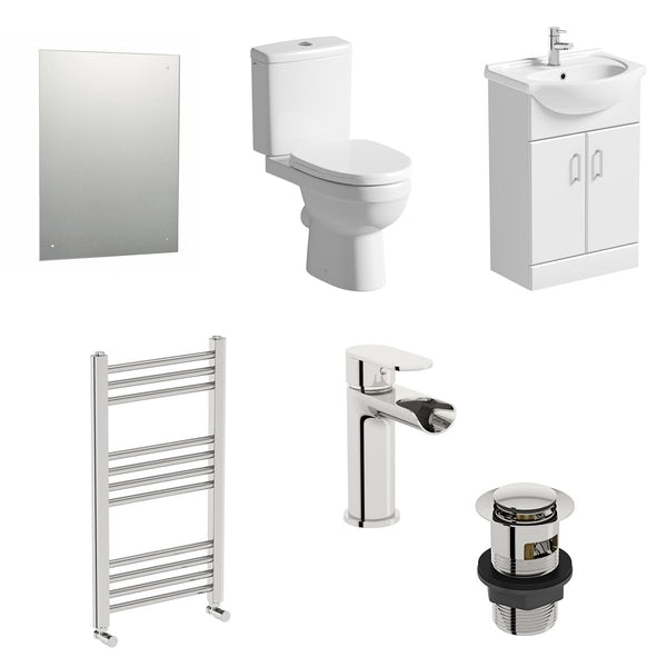 Orchard Eden white vanity unit and close coupled toilet suite with heated towel rail, mirror, tap and waste
