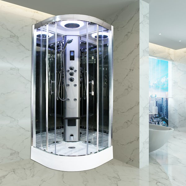 Insignia Premium quadrant steam shower cabin with clear glass