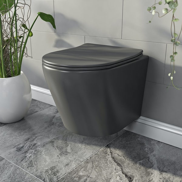 Mode Orion charcoal grey wall hung toilet and soft close seat