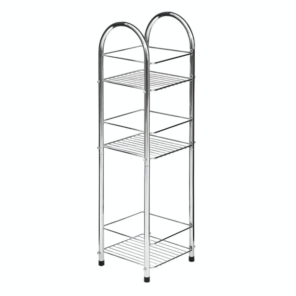 Freestanding round 3 tier chrome bathroom organiser