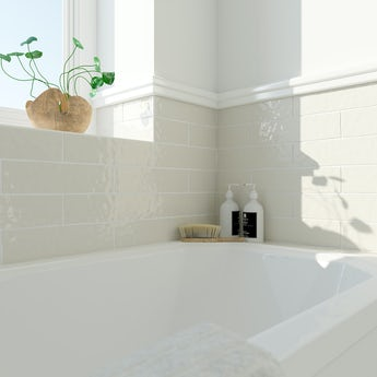 Laura Ashley Artisan creamware yellow gloss wall tile 75mm x 300mm