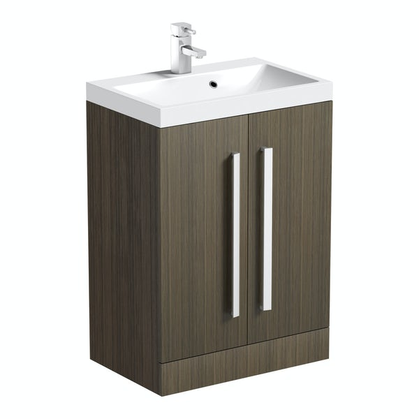 Wye walnut 600 vanity unit with basin
