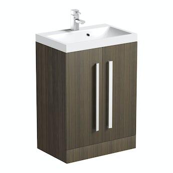 Orchard Wye walnut floorstanding vanity unit and basin 600mm