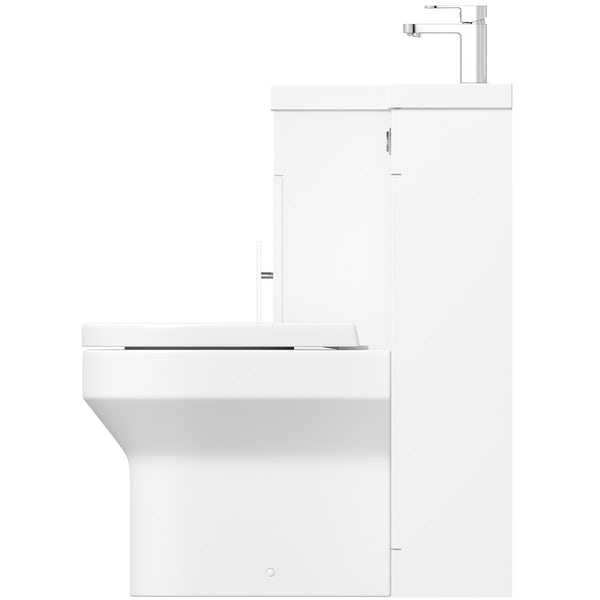 Orchard MySpace white left handed combination with Wharfe back to wall toilet