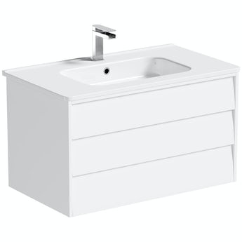 Mode Cooper white wall hung vanity unit and ceramic basin 800mm
