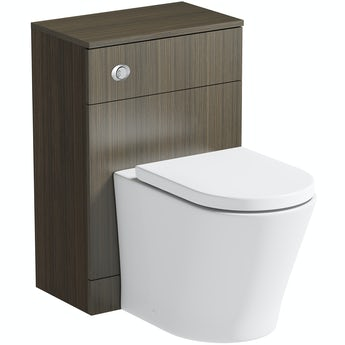 Orchard Wye walnut back to wall unit and contemporary toilet with soft close seat