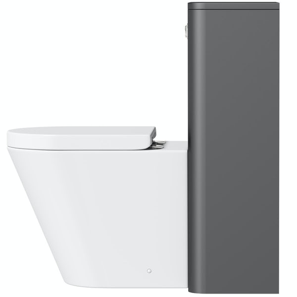 Mode Carter slate gloss grey back to wall unit and contemporary toilet with soft close seat