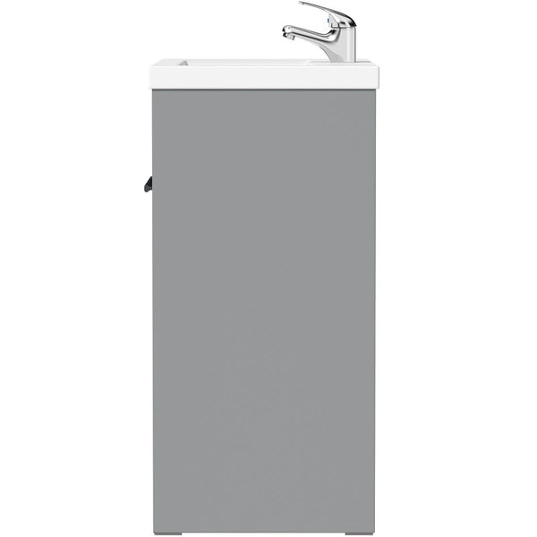 Clarity white floorstanding vanity unit with black handle and ceramic basin 510mm