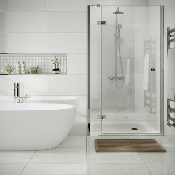 Cosmic white lappato textured wall and floor tile 600mm x 600mm
