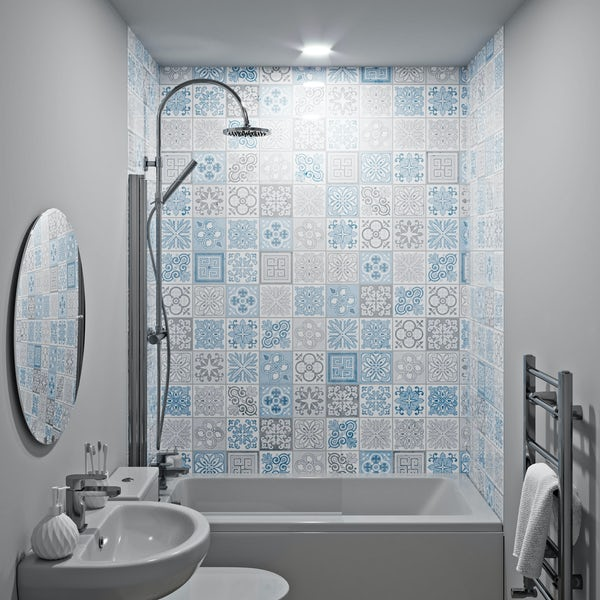 Showerwall Custom Victorian Blue acrylic shower wall panel