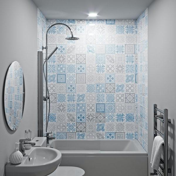 Showerwall Custom Victorian Blue acrylic shower wall panel
