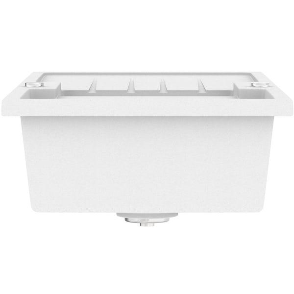 Schön Roseto chalk white 1.5 bowl reversible kitchen sink