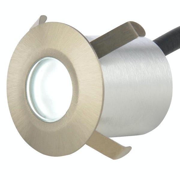Forum Nembus circular single brushed steel LED plinth light