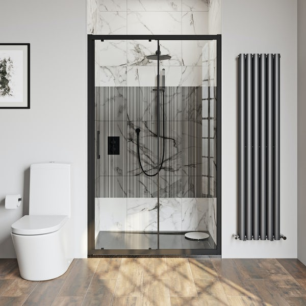 Mode 8mm matt black framed shower door with barcode style modesty panel 1200mm