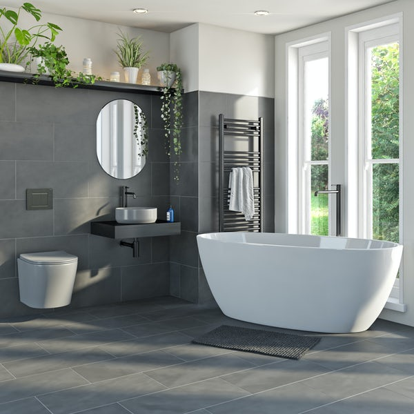 Mode Orion complete bathroom suite with contemporary stone grey wall hung toilet and 1700 x 806 freestanding bath