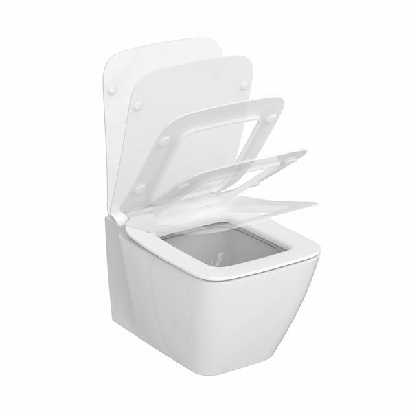 Ideal Standard Strada II wall hung toilet with soft close seat, concealed cistern, push plate and brackets