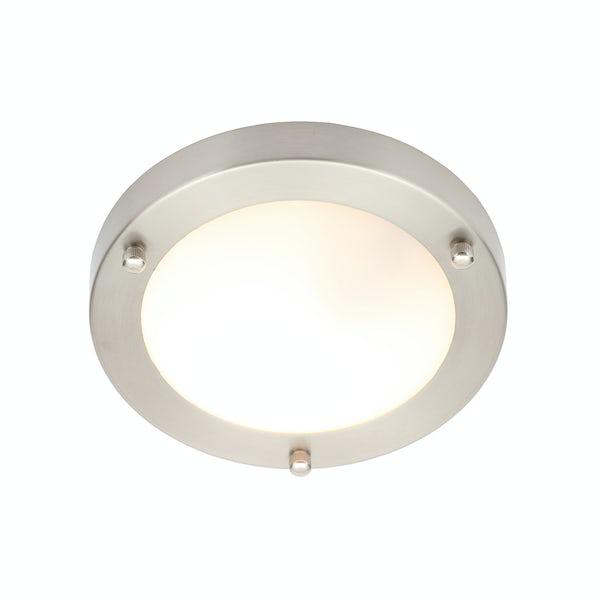 Forum Draco brushed nickel round flush bathroom ceiling light