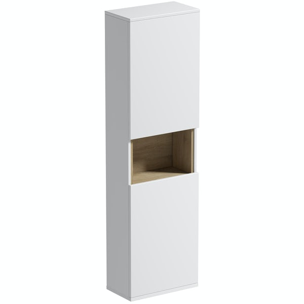 Mode Tate II white & oak wall hung cabinet 1400 x 400mm