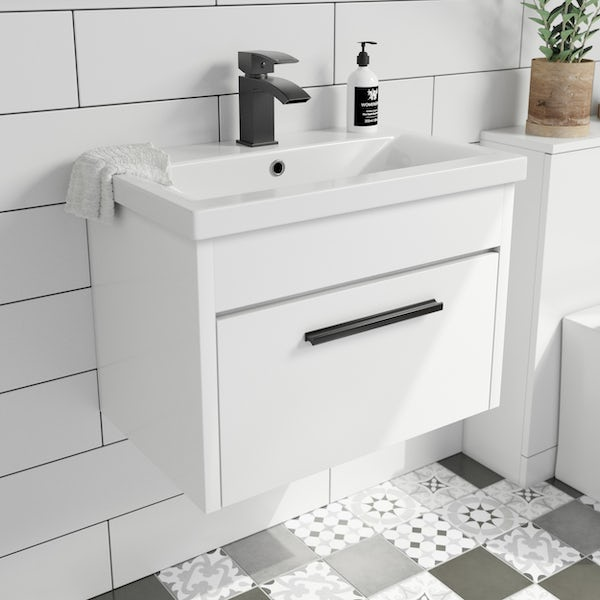 Clarity white wall hung vanity unit and ceramic basin 600mm with tap and black handles